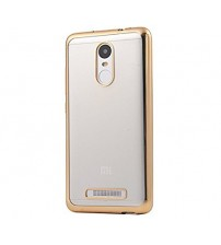 Transparent Soft Silicon Back Case Cover for Mi Redmi Note 3 - Transparent with Gold Border