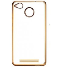 RED MI 3S PRIME - Transparent Soft Silicon  Back Case Cover (Transparent/Gold Border)