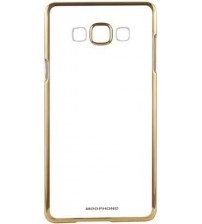 SAMSUNG J7 - Transparent Soft Silicon Back Case Cover (Transparent/Gold Border)