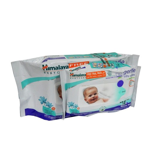 Himalay Gentle Baby Wipes-72s+12s Free