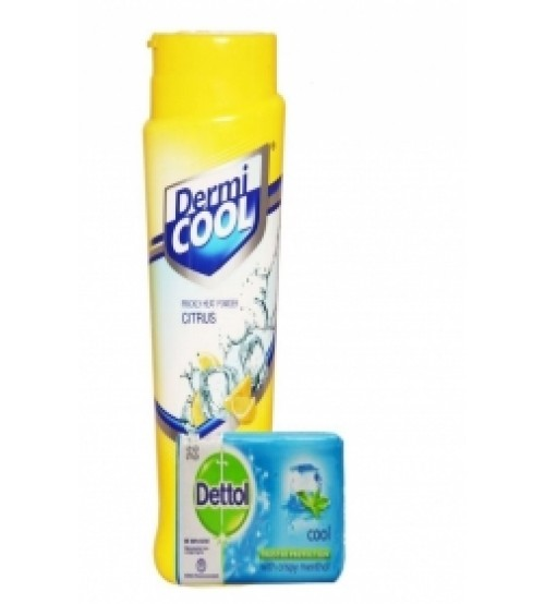DERMICOOL PRICKLY HEAT POWDER CITRUS WITH FREE DETTOL SOAP
